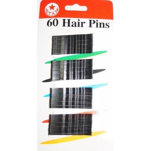 Невидимки для волос  PROFI line металлические чёрные 60 шт.