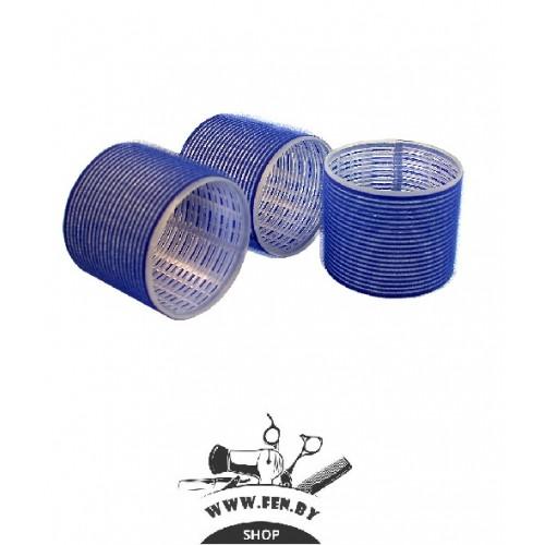 Бигуди-липучки PROFI line R-VTR-19, синие, d75мм., 6шт.